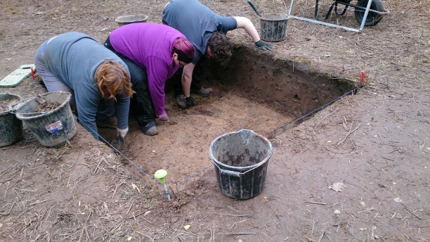 Trench 4 getting a good clean before excavation of several potential features.