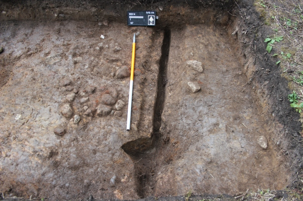 The linear cut fully excavated in Trench 2