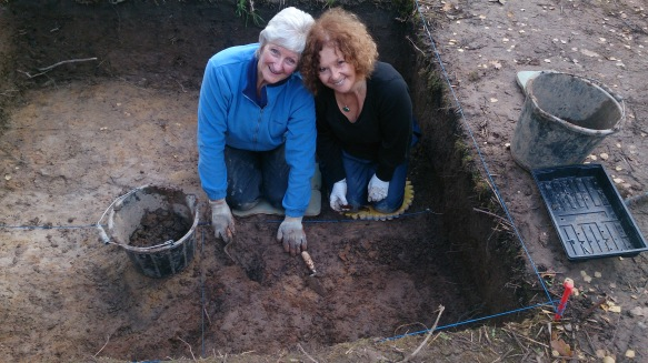 Sheila and Fran excavating the degraded material.