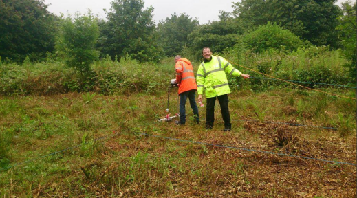 Dean enjoying himself a little too much during a rather damp survey day!